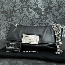 Rise-on Vintage CHANEL 2.55 Calf Leather Black Chain Handbag Shoulder Bag #2247