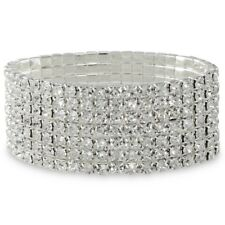 NEW Celebrity Clear Crystal Silver Tone Stretch Statement Bracelet Prom Bridal
