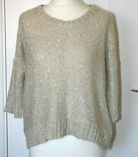 Warehouse UK10 EU38 cream 3/4 sleeve shaped hem sequin jumper with 8% mohair