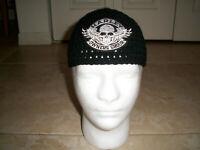 Harley Davidson Inspired HANDMADE Crochet Skull Cap + Skull HOG Patch Beanie Hat