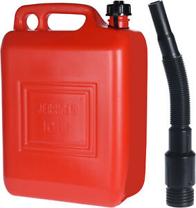 10 Litre Red Plastic Jerry Can + Spout Petrol Diesel Fuel Oil Bottle Container