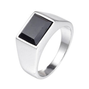 Never Fade Simple Punk Men Silver Stainless Steel Black Stone Finger Rings SZ 8