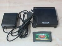 L758 Nintendo Gameboy Advance SP console Onyx Black & game Adapter Japan GBA