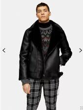 TOPMAN RRP £89 Black Shearling Biker Jacket Medium New