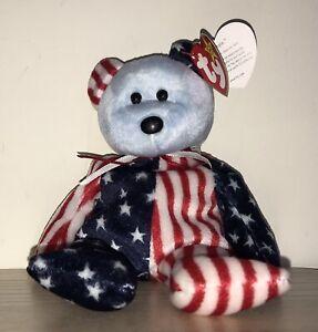 BNWT! TY Beanie Baby Spangle The Bear (blue face) DOB June 14th 1999