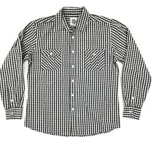 Paper Denim & Cloth Button Down Shirt Men's M Gray Check Cotton Long Sleeve