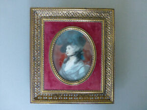 HAND PAINTED MINIATURE PORTRAIT in BRASS & RED VELVET EASEL FRAME (Convex Glass)
