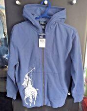 Ralph Lauren rara! Denim Azul logotipo Big Pony Zip Hoodie: tamaño S 7 años - 8 BNWT