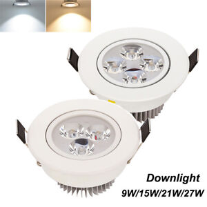 9/15/21/27W Dimmable Recessed Led Ceiling Down Light Lamp Fixture Spotlight Cool
