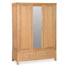 Abbey Light Oak Large Wardrobe / Wardrobe with Drawers / Solid Wood / Mirrored