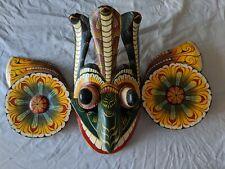 Vintage HAND CARVED & Painted Sri Lanka DEVIL Cobra MASK Totem w/ Snakes