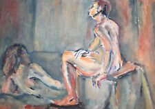 VINTAGE EXPRESSIONIST WATERCOLOR PAINTING NUDE FEMALES PORTRAIT