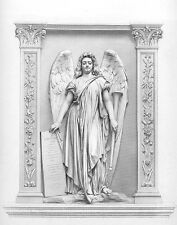 ARCH ANGEL MICHAEL CALLING FOR DEAD TO RISE ~ Old 1878 Bible Art Print Engraving