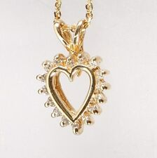New DIAMOND HEART SMALL PENDANT 14K Solid YELLOW GOLD 0.18TCW w/ chain 18 inches