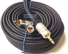 20m Stereo 3.5mm Jack Plug to TWIN 2 x RCA PHONO Audio Lead GOLD CABLE 20 METRES