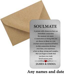Personalised Soulmate metal wallet card love valentines boyfriend girlfriend