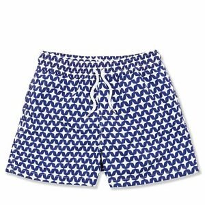 Frescobol Carioca Arpoador Mens Short Swim Shorts, blue with white 4-point stars