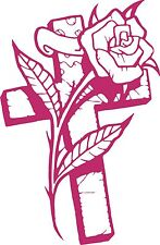 Cross Rose Flower Christian Christ Car Truck Window Laptop Vinyl Decal Sticker