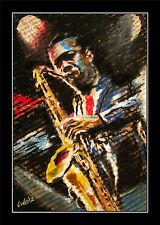 Saxophon Lithografie by Volker Welz signiert Musiker Tenor Alt Bariton Swing POP