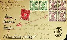 INDIA 1951 G VI KOLHAPUR TAXED COVER FRONT WITH US 2c POSTAGE DUE - N44492