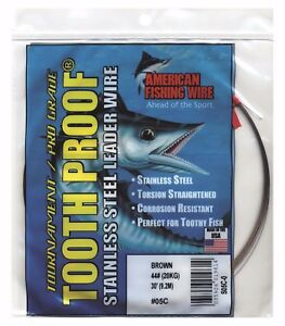 2 Coils-30' AFW Toothproof Stainless Steel Leader Wire -Pick Test-Free Ship