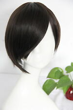 Premium Full Head Wig - Short Dark Brown Bob w/ Side Fringe