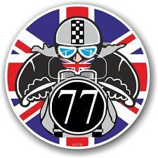 Retro cafe racer 1977 ton up club union jack drapeau cocarde vinyle voiture vélo autocollant