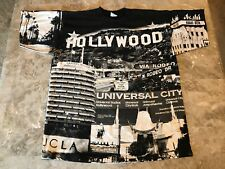Vintage 90s Hollywood Crazy All Over City Print 4-Sided Graphic T-Shirt Sz XL