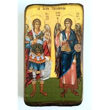 Icon of Michael and Gabriel, Greek Russian Christian Orthodox, Made of Wood A0