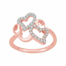 10K Rose Gold Round Cut Real Natural Diamond I1 IJ Double Heart Ring 0.30 CT New