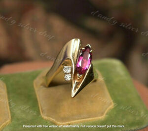1.20CT Marquise Cut Pink Ruby With Round Diamond Ring In 14K Yellow Gold Finish