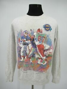 M9876 VTG 1994 NFL Super Bowl XXVIII Watercolor Sweatshirt Made In USA Size XL