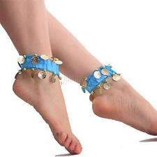 Womens Belly Dance Anklet Dangling Coins Gypsy Tribal Bracelet Light Blue