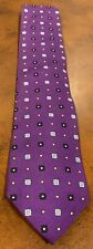 Brooks Brothers Men's 100% Silk Tie Purple With Blue And White Floral Pattern