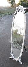Shabby White chic Mirror Cheval Mirror free standing bevelled glass full length