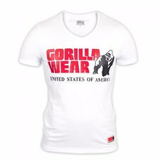 Gorilla Wear Utah V-Neck T-Shirt – White Weiß Bodybuilding Fitness