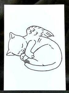 Original ACEO Sleeping Angel Kitty Cat Medium Ink Marker on Paper Signed Artist