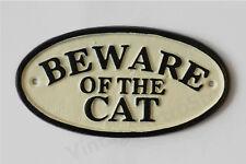 Beware Of The Cat Sign Cast Iron 17cm Traditional Handpainted Cream Black