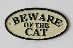 Beware Of The Cat Sign Cast Iron 17cm Traditional Plaque Cream and Black