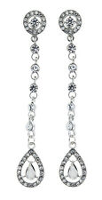 Clip On Earrings - silver drop earring with clear stones and crystals - Esmay