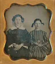 BEAUTIFUL YOUNG SISTERS STUNNING DRESS HAIR RIBBONS 1/6 PLATE DAGUERREOTYPE D693