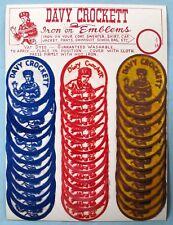 VINTAGE - ORIGINAL DAVY CROCKETT IRON-ON EMBLEM PATCHES ON DISPLAY CARD - 1950's