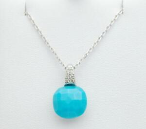 18k White Gold Checkerboard Cut Turquoise & Diamond Necklace