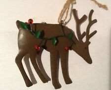 LARGE FOLKART BROWN METAL DEER BUCK HOLLYBERRY VINE CHRISTMAS TREE ORNAMENT NEW