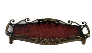 Vintage Scroll Metal Rectangular Footed Vanity Tray Brown/Red 18 x 5