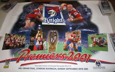 Andrew Johns signed 2001 Newcastle Knights Premiership Poster +COA/Proof (2088)