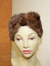 Vtg. Mink Turban Style Hat Headband - Rich Brown - Velcro Closing