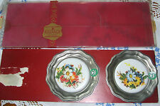 KASSACK ZINN Germany 2 Stück Untersetzer aus Zinn+ Keramik  Blumendekor unbenut
