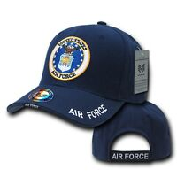 Navy Blue United States USAF Air Force Logo Military Baseball Structured Cap Hat