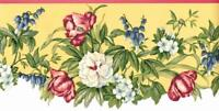 Yellow Coral Green Mauve Country Floral Botanical  Leaf Vine Wallpaper Border